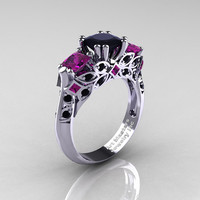Classic 18K White Gold Three Stone Princess Black Diamond Amethyst Solitaire Ring R500-18KWGAMBD