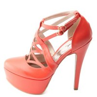 Qupid Cut-Out Caged Platform Pumps by Charlotte Russe - Tangerine