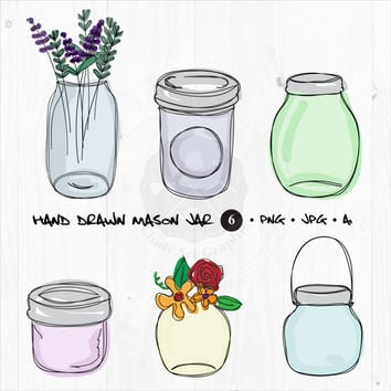 Hand Draw Mason Jar Clip Art,mason jar clipart,scrapbook vector graphics,digital download-BUY 1 GET 1 FREE! Use Code: 1GET12016