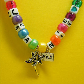 Kids Party Favor Fairy Wish Personalized Necklace - Make your own Child Necklace, Fairy, Tinkerbell, Pixie Dust, Jewelry Kit Create your own
