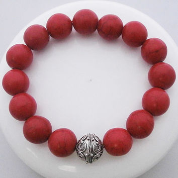 Red Turquoise Bracelet w/925 Sterling Silver Bali Bead