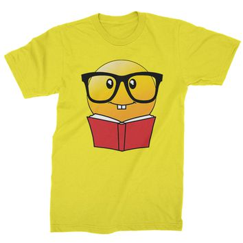 Emoticon Book Nerd with Glasses Mens T-shirt