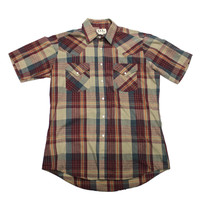 Vintage 90s Pearl Snap Plaid Button Up Shirt Mens Size 15 1/2 (Medium)