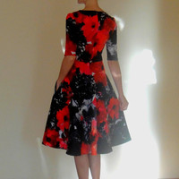 Amazing,Black Red Flower,Midi Dress,Floral Cotton dress,Every day Dress,Autumn dress,With pockets,With Sleeves,Cocktail dress,Evening dress.