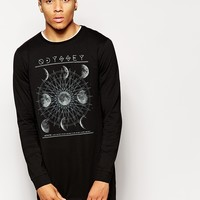 ASOS Super Longline Long Sleeve T-Shirt With Odyssey Print at asos.com