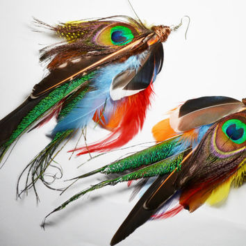 Feather Earrings Large Statement Earrings Colorful Bird Feather Peacock Earrings Mixed Feather Boho Earrings Burning Man Earrings Nature