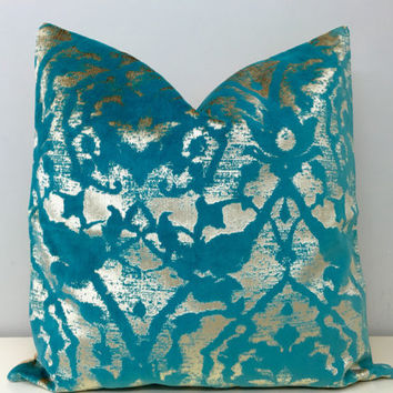 Turquoise Blue Velvet Pillow Cover, Blue Decorative Pillow, Gold Velvet Pillows, Blue Velvet Cushion Case, Blue Velvet Throw Pillow Covers