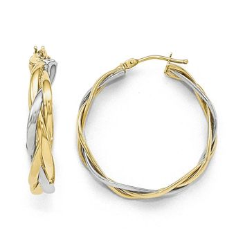 5mm Polished Braided Round Hoop Earrings in 10k Two Tone Gold, 30mm