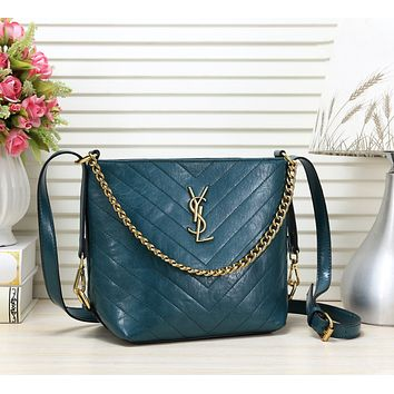 YSL Fashion New Leather Shopping Leisure Shoulder Bag Bucket Bag Blue