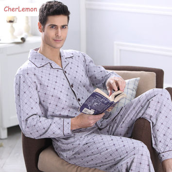 Men's Pajamas Autumn Long Sleeve Pyjamas Sleepwear Cotton Plaid Men Pijama Male Lounge Pajama Sets Plus size Nightwear 4XL