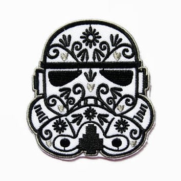 Patches - Iron on Patch - Flower Sugar Skull Patch - Patches for Clothes - Embroidered Patch - Iron on Applique - Jacket Patch for Clothes