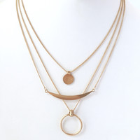 Sea Saw Layered Necklace Set In Gold