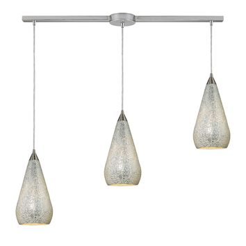 546-3L-SLV-CRC Curvalo 3 Light Pendant In Satin Nickel And Silver Crackle Glass - Free Shipping!