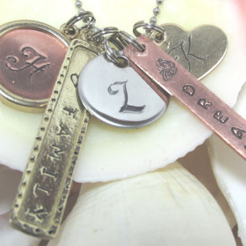 Mixed Metal Hand Stamped Mother Grandmother Family Necklace