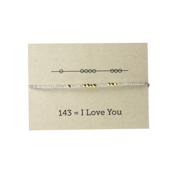 I Love You 143 Friendship Bracelet - Silver