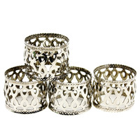Set/4 Napkin Rings, Silver Filigree