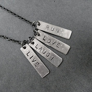 LIVE Laugh LOVE RUN - 4 Pendant Necklace on Gunmetal Chain - Runner Necklace - Life Lesson - Running Motto Necklace - Live Your Life Running