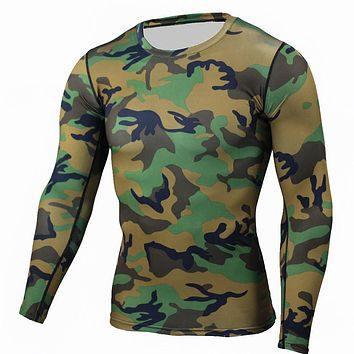 Men Boy Compression Base Layer Tight Top Shirt Under Skin Long Sleeve Camouflage T-shirt Crossfit Tops Tees