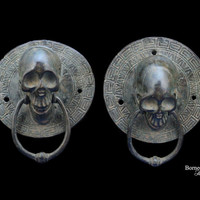 "Bronze Skull Door Knocker 4.25"" Decorative Door Knocker Realistic Skull Sculpture Skeleton Head Wall Decor Pair Left & Right"
