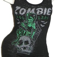 M~medium~ZOMBIE~derby~ROLLER GIRL~punk~rockabilly~SKULL~goth~sourpuss~TANK TOP