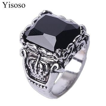 Yisoso soldier Man Punk Rock Rings Vintage 316L STAINLESS Steel Red Black Gem Cross Finger Ring With Stone Fashion Jewelry