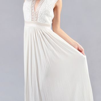 Ivory White Empire Lace Crochet Maxi Dress