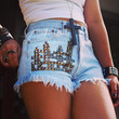 Studded shorts Levis high waisted studded denim shorts super frayed jeans shorts by Jeansonly