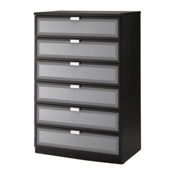 "HOPEN 6-drawer chest, black-brown, frosted glass - 31 1/2x49 1/4 "" - IKEA"