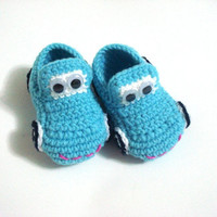 baby boy shoes, Baby Booties Cars blue turquoise , baby slippers, crochet baby booties 0 12 month baby, crochet baby shoes, Christmas gifts