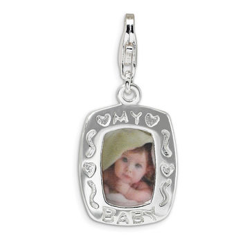 Sterling Silver Polished My Baby Frame w/Lobster Clasp Charm QCC166