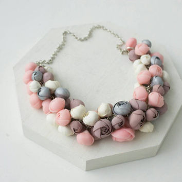 Pink Silver Grey Marshmallow Floral flowers statement bib Necklace Chunky floral Cluster prom unique necklace floral weddings arrangements