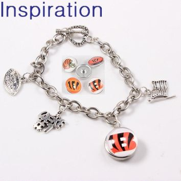 USA Football Team Cincinnati Bengals Snap Button Link Chain Bracelet We Are #1 I Love Football Dangle Charm 8pcs