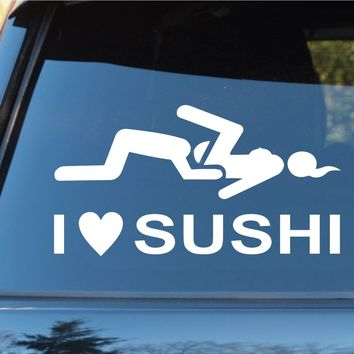I love sushi funny car window windshield lettering decal sticker decals stickers jdm drift dub vw