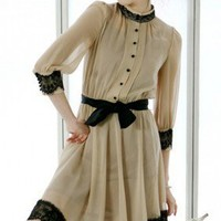 Elegant Feminine Pleated Khaki Black Lace Trims Chiffon Dress. Summer