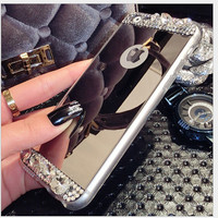 For Iphone 6 6S 5.5 Women Lady Girl's Bling Diamond Mirror Cases Luxury Flexible Soft Case For Iphone 6 6S Plus Clear Back Cover