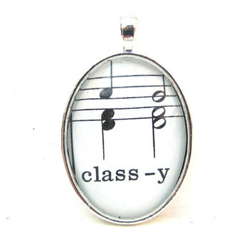 Music Note Pendant with Classy from Vintage Music Sheet, in Glass Tile Oval