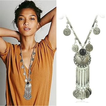 Bohemian Vintage Coin Long Pendant Necklace Silver Plated Chain Gypsy Tribal Ethnic jewelry Tassel Necklace for women X-611