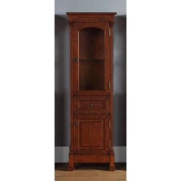 James Martin Brookfield Linen Cabinet In Warm Cherry