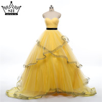 Real Photo  Puffy Wedding Dress  Ruffles  Ball Gown  Beaded Yellow BungundyTulle Court Train Bridal Dresses  2016