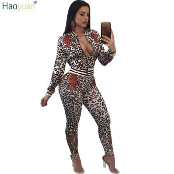 HAOYUAN Tracksuit Women Two Piece Set Autumn Winter Casual Sweatsuit Sexy Club Outfits Long Sleeve Leopard Print Top Pant Suits