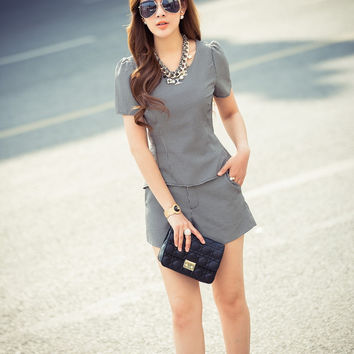 Black Short Sleeve Peplum Top with Shorts Set
