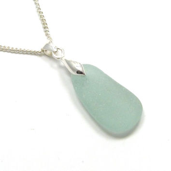 Sea Glass Pendant,  Aqua Blue Sea Glass, Silver Necklace, CARYS, Sea Glass Jewelry, Seaglass Jewelry