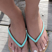 Sail The Seven Seas Braided Mint & Tan Thong Sandals