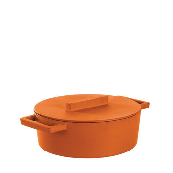 Terra Cotto Cast Iron Oval Casserole Pot with Lid | Curry