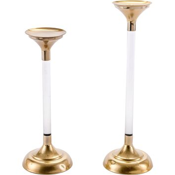 Gold Lucite Candle Holders (Set of 2)