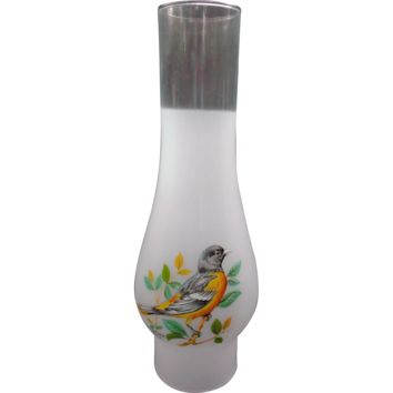 Frosted Glass Vintage Oil Lamp Chimney Shade Baltimore Oriole Decal