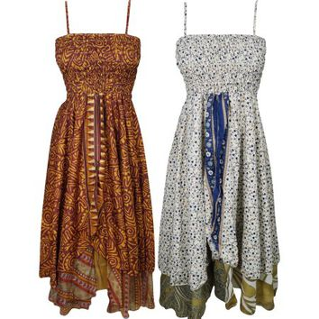 Mogul Lot Of 2 Womens Sundress 2 Layer Recycled Vintage Sari Girl On The Wing Summer Beach Dress - Walmart.com