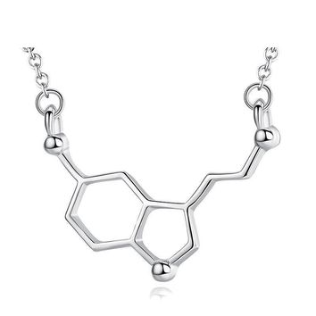 Charm Chemical Molecular Dopamine Pendant Necklaces for Women Girl