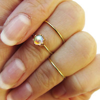 Gold Moonstone Above Knuckle Ring Set Dainty