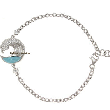 SOLID 925 SILVER GENUINE NATURAL LARIMAR HAWAIIAN OCEAN WAVE BRACELET CZ 17MM